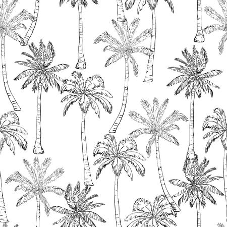 Illustration for Seamless tropical palms pattern. Summer endless hand drawn vector background of palm trees can be used for wallpaper, wrapping paper, textile printing.Vector illlustration. foliage, natural, tropic, aloha, banana, botanical, eco, green, liana, miami, ornate, painting paper - Royalty Free Image