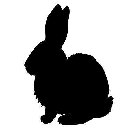 Illustration pour Silhouette of a sitting up rabbit, vector illustration - image libre de droit