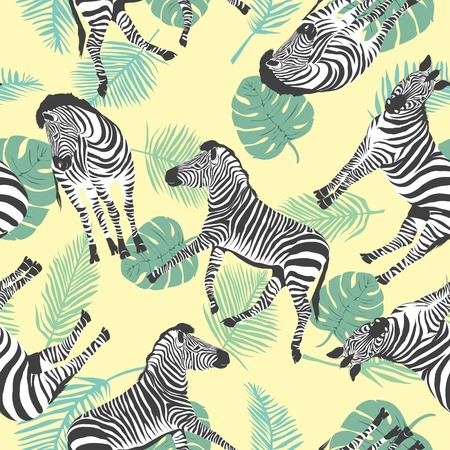 Photo pour Sketch Seamless pattern with wild animal zebra print, silhouette on white background. Vector illustrations. Wild African animals. - image libre de droit