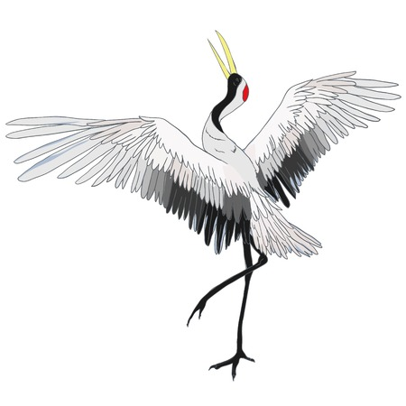 Ilustración de Crane. A bird in flight. Design element. Vector. - Imagen libre de derechos