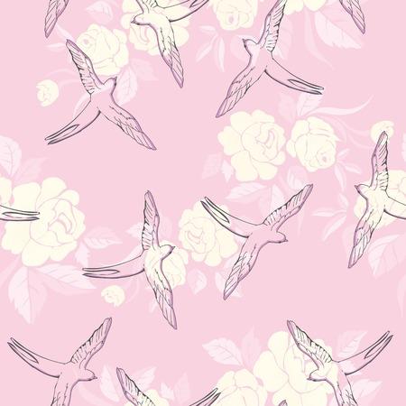 Ilustración de vintage pattern with little swallows - Imagen libre de derechos