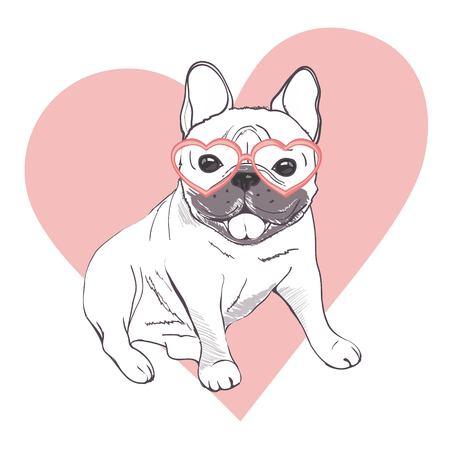Illustration pour Funny puppies of french bulldog. Vector funny french bulldog, puppy cute, pet drawing sketch illustration - image libre de droit