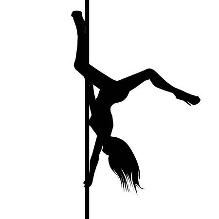 Ilustración de Vector silhouette of girl and pole on a white background. Pole dance illustration. - Imagen libre de derechos