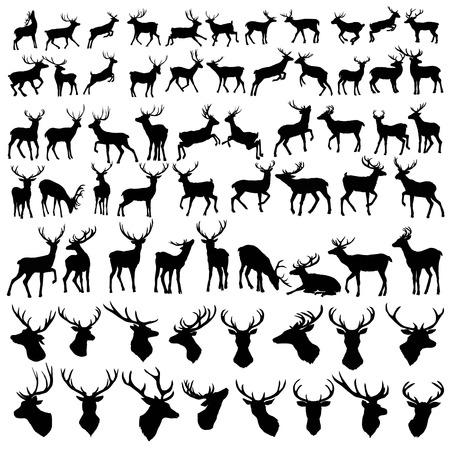 Ilustración de vector large collection of deer silhouettes - Imagen libre de derechos