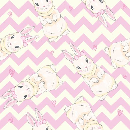 Illustration for Seamless pattern with cute cartoon bunny. Baby pattern. - Royalty Free Image