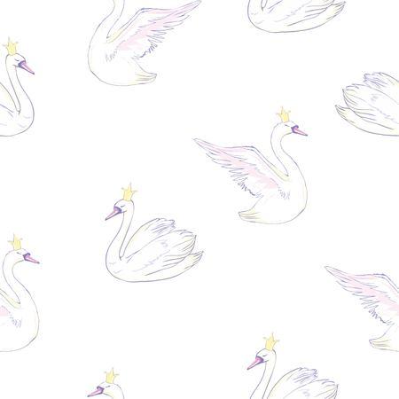Illustration pour Seamless pattern with white swans. Vector illustration. - image libre de droit
