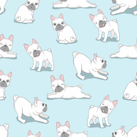 Illustration for Dog French bulldog with glasses seamless pattern - Royalty Free Image