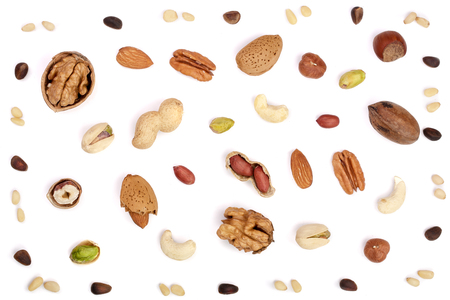 Photo for mix of different nuts isolated on white background, Flat lay pattern, Top view - Royalty Free Image