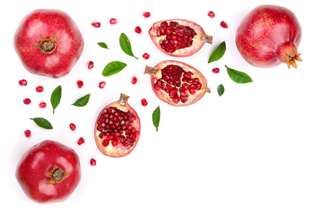 Photo pour pomegranate with leaves isolated on white background with copy space for your text. Top view. Flat lay pattern - image libre de droit