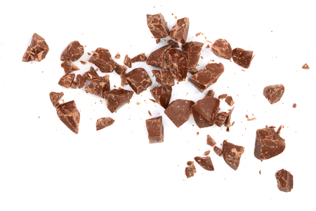 Photo pour Chocolate pieces isolated on white. Top view. Flat lay. - image libre de droit