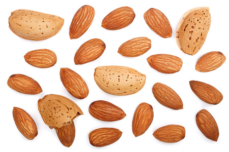 Photo for almonds isolated on white background. Top view. Flat lay pattern. - Royalty Free Image