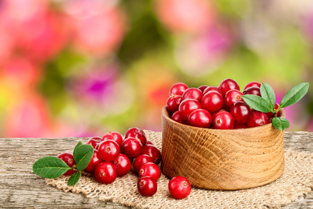 Photo for Cranberry with leaf in wooden bowl on old wooden table with blurry garden background. - Royalty Free Image