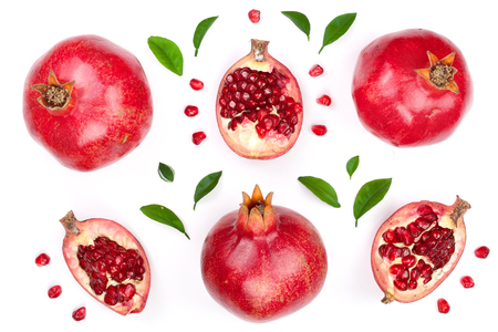Photo pour pomegranate with leaves isolated on white background. Top view. Flat lay pattern - image libre de droit