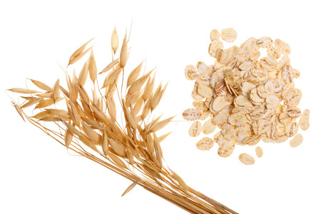 Photo for oat spike with oat flakes isolated on white background. Top view. - Royalty Free Image