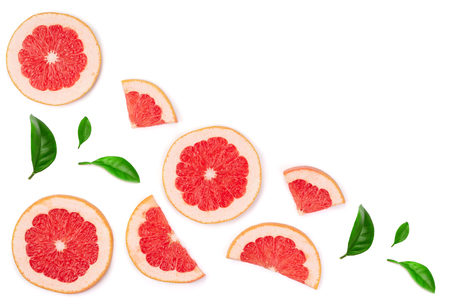 Photo pour Grapefruit slices with leaves isolated on white background with copy space for your text. Top view. Flat lay pattern. - image libre de droit