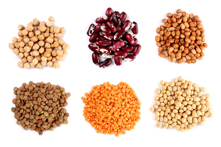 Photo for Collection set of Various dried kidney legumes haricot beans, soybeans, lentils, chickpeas close up isolated on white background. - Royalty Free Image