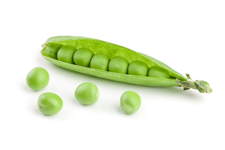 Photo pour Fresh green pea pod isolated on white background. - image libre de droit
