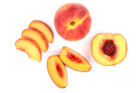 Photo for ripe peaches isolated on white background. Top view. Flat lay pattern. - Royalty Free Image