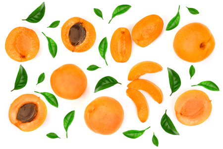 Photo pour Apricot fruits isolated on white background macro. Top view. Flat lay pattern. - image libre de droit