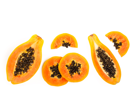 Photo for ripe slice papaya isolated on a white background with copy space for your text. Top view. Flat lay - Royalty Free Image