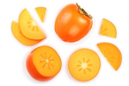 Foto de persimmon fruit isolated on white background. Top view. Flat lay pattern - Imagen libre de derechos