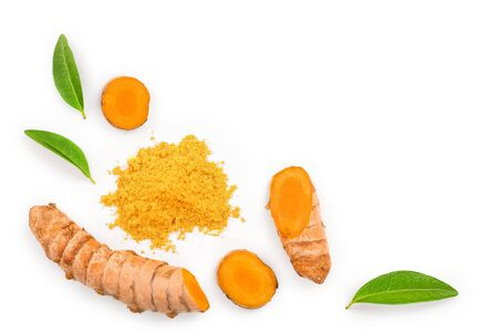 Foto de Turmeric powder and turmeric root isolated on white  with copy space for your text. Top view. Flat lay - Imagen libre de derechos