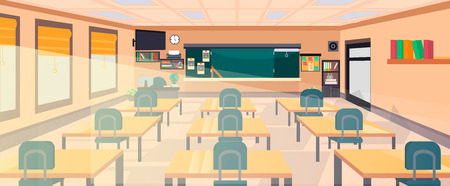 Illustration pour Vector classroom interior at the school, university, institute, college. Educational concept, blackboard, desks, office supplies. Training room illustration. Lesson for teaching and learning. - image libre de droit