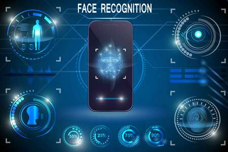 Ilustración de Biometric Identification or Recognition System of Person. Face ID. Technology Smart Phone Scanning. Set HUD Elements - Imagen libre de derechos