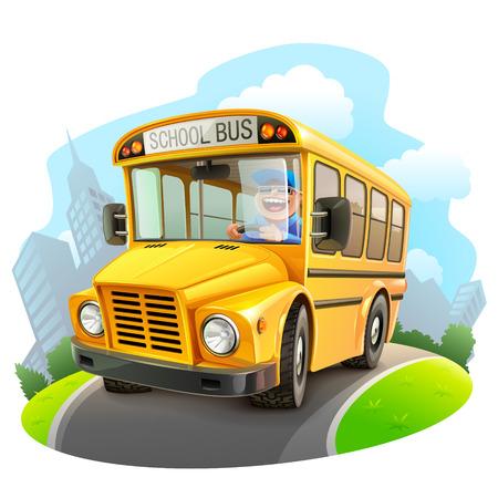 Photo pour Funny school bus illustration - image libre de droit