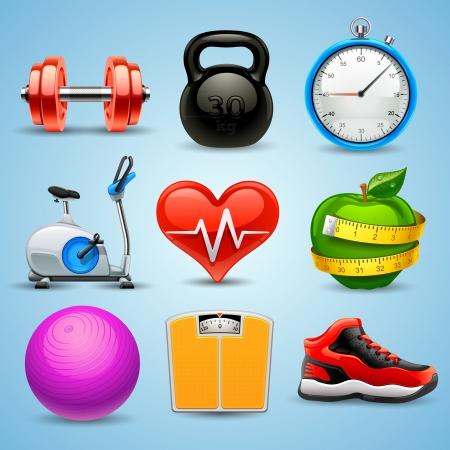 Ilustración de fitness icon set - Imagen libre de derechos