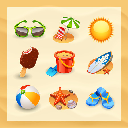 Illustration for beach icon set - Royalty Free Image