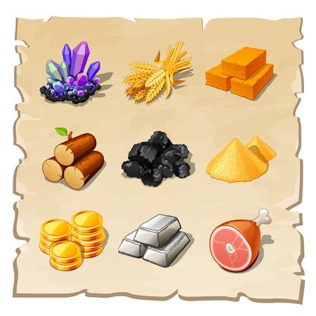 Illustration pour resource icons for games - image libre de droit