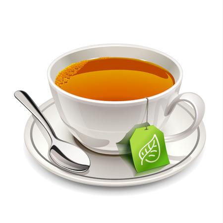 Ilustración de Cup of tea with tea bag - Imagen libre de derechos