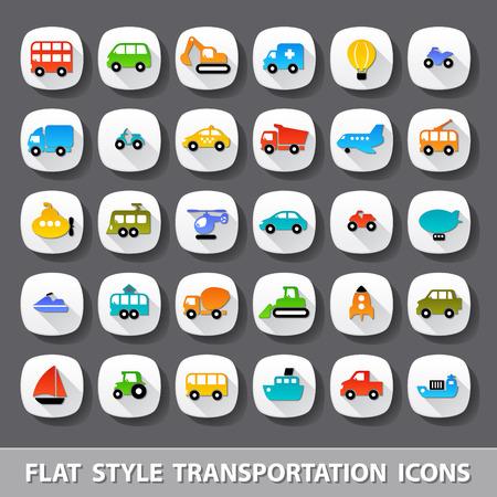 Illustration pour Flat style transportation icons - image libre de droit