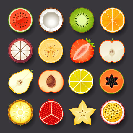 Ilustración de fruit icon set - Imagen libre de derechos
