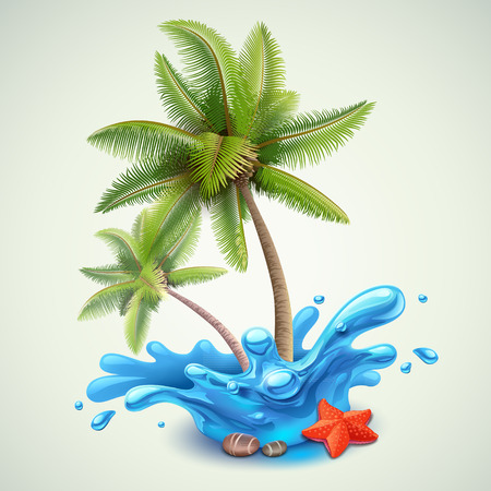 Illustration pour Water splash with palms - image libre de droit