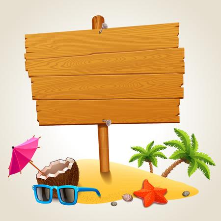 Illustration pour Wood sign in the beach icon - image libre de droit