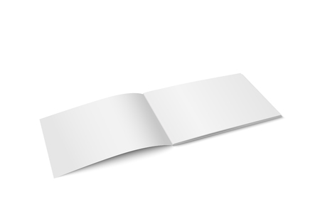 Illustration for Vector white mock up of magazine isolated. Opened horizontal magazine, brochure, book or notebook template on white background. 3d illustration. Diminishing perspective. - Royalty Free Image