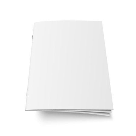 Illustration for Mock up vector of book or magazine white blank cover isolated. Flying closed vertical magazine, brochure, booklet, copybook or notebook template on white background 3d illustration. - Royalty Free Image