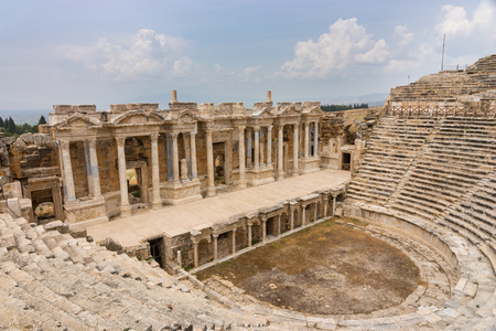 Photo for The colonnade of the Theatre and amphitheatre at Hierapolis near Pamukkale in Turkey now a UNESCO World Heritage Site originally part of an ancient resort around the hot springs - Royalty Free Image