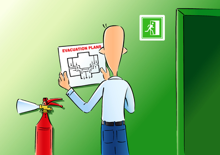 Ilustración de Evacuation plans & fire extinguishe. Vector illustration of a man hangs up the evacuation plan for the office wall - Imagen libre de derechos