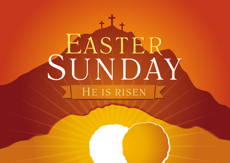 Illustration pour Easter Sunday, He is risen. Greetings, invite vector card. Calvary sunrise with three crosses, open lighting empty cave and stone. Religious symbol. Holy week flyer template. Bible story illustration. - image libre de droit