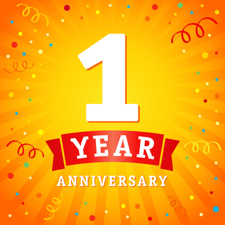 Illustration for 1 year anniversary logo celebration card. 1st year anniversary vector background with red ribbon and confetti on yellow flash radial lines - Royalty Free Image
