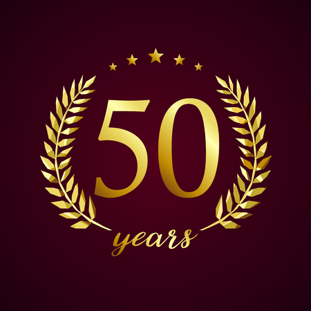 Ilustración de 50 years old luxury logotype. Congratulating 50th, 5th numbers in circle of palms, cup template. Isolated sign greetings symbol, celebrating traditional stained-glass decorative retro style ear. - Imagen libre de derechos