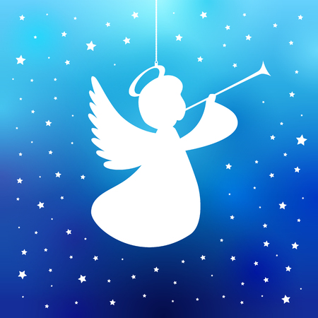 Illustration pour Flying angel with trumpet on a navy blue background. White isolated angel with trumpet starry silhouette, Merry Christmas card. Vector illustration - image libre de droit