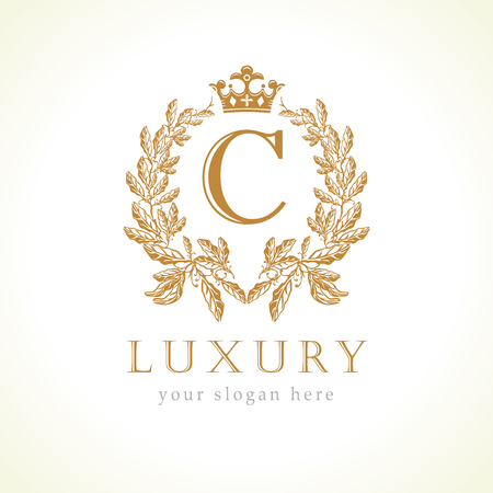 Illustration for Luxury C letter and crown monogram logo. Laurel elegant beautiful round with crown and wreath. Vector letter emblem C for Antique, Restaurant, Cafe, Boutique, Hotel, Heraldic, Jewelry - Royalty Free Image