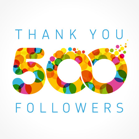 Illustration for Thank you 500 followers numbers. Congratulating multicolored thanks image. - Royalty Free Image