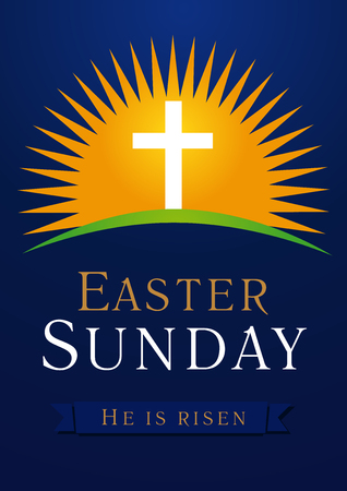 Illustration pour Easter Sunday, He is risen. Greetings, invite vector blue color template. Sunrise, open lighting empty cave, rock off, shining angel inside. Religious symbol and text. Jesus up from the death. - image libre de droit