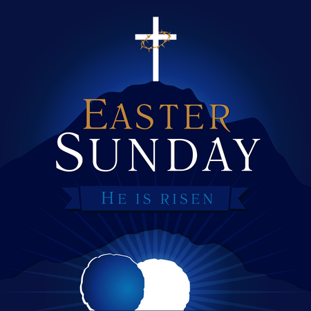 Illustration pour Easter Sunday, He is risen. Greetings, invite vector blue color template. Sunrise, open lighting empty cave, rock off, shining angel inside. Crown of thorns. Religious symbol. Jesus up from the death. - image libre de droit