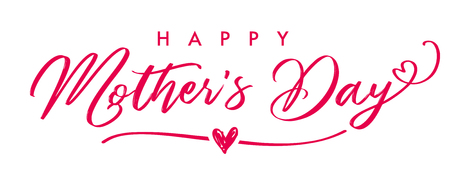 Ilustración de Happy Mother`s Day elegant calligraphy banner. Lettering vector text and heart in frame background for Mother's Day. Best mom ever greeting card. - Imagen libre de derechos